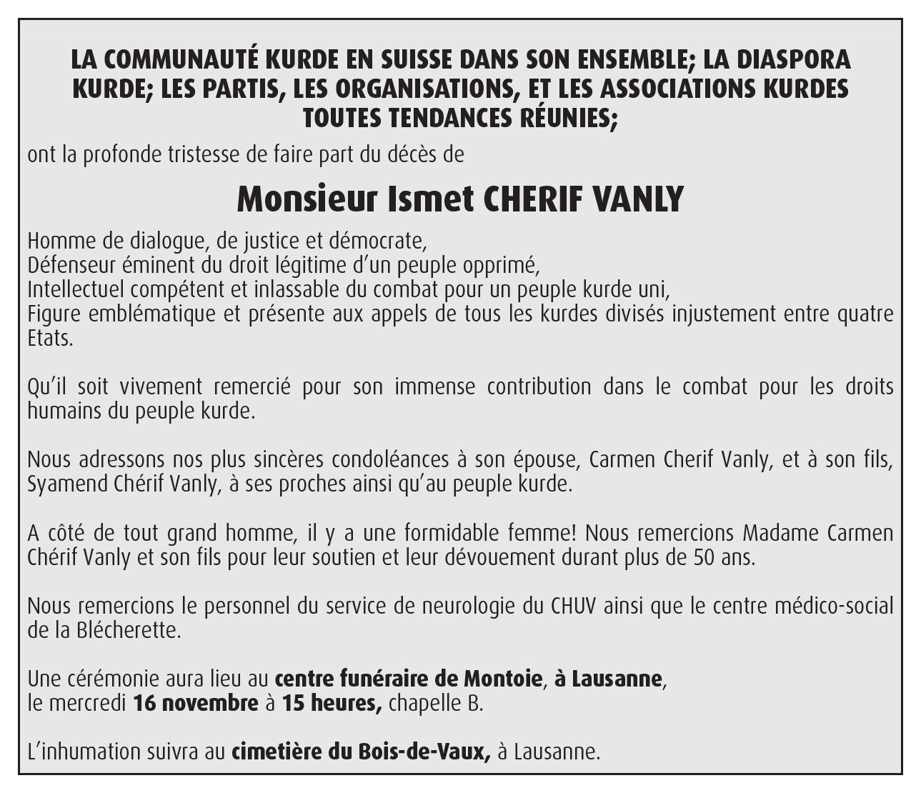 Faire-part de décès d'Ismet Cherif Vanly